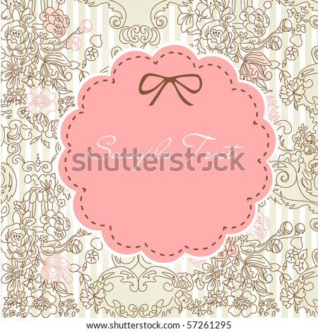 vintage floral card - stock vector