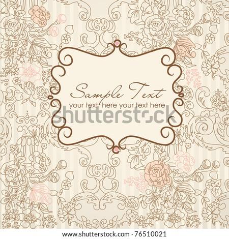 vintage floral card - stock vector