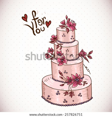 Vintage Floral Card Wedding Cake Vector Stock Photo Photo Vector