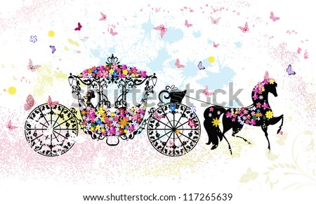 vintage floral carriage - stock vector