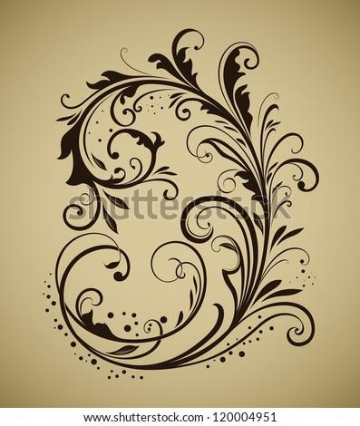 Vintage floral design element isolated on beige background. - stock vector