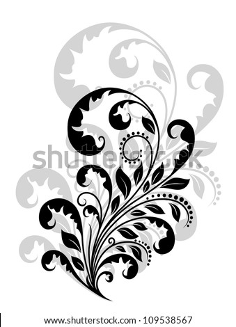 Vintage floral embellishment and element for retro design. Jpeg version also available in gallery