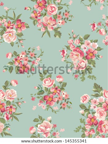 vintage floral ,flower seamless pattern background - stock vector