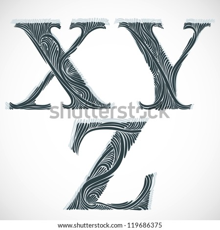 Vintage floral font, letters X Y Z. - stock vector