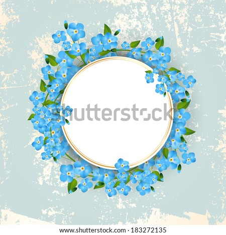 Vintage Floral Forget-me-not Flower Round Frame, Copyspace  - stock vector