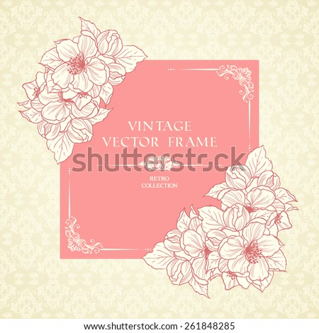 Vintage floral frame and patterned background. Pink pastel sakura flowers wedding invitation, card, congratulations, elegant lace ornate vector template - stock vector