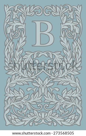 Vintage floral frame with copy space for text in trendy mono line style - monogram design element. Vector illustration. - stock vector