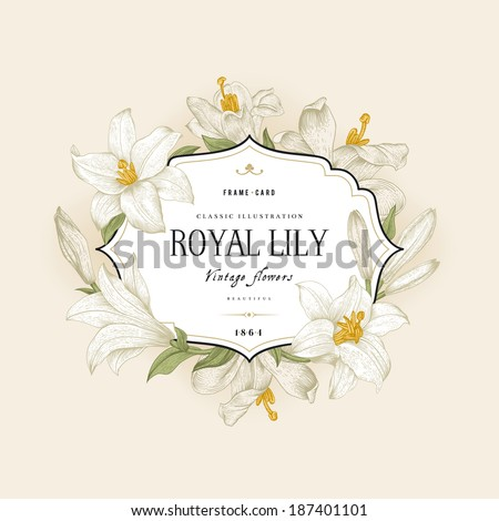 Vintage floral frame with white royal lilies on a cream background. Vector illustration. - stock vector