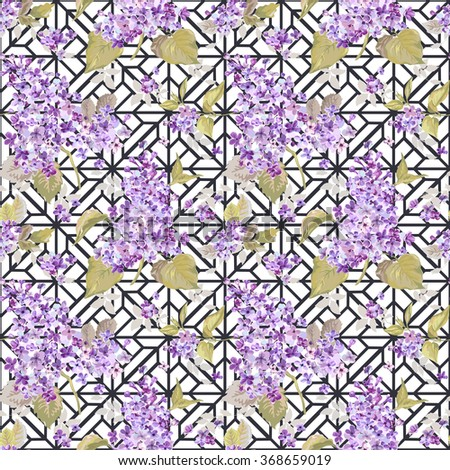 Vintage Floral Lilac Geometry Background - seamless pattern for design, scrapbook - in vector - stock vector