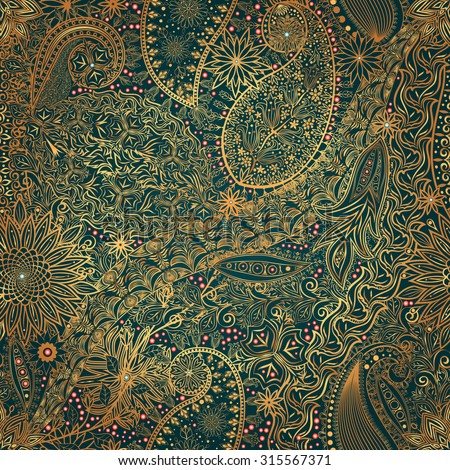Vintage floral motif ethnic seamless background. Abstract lace pattern. Ability to edit the colors, without losing seamlessly. Hand drawing colorful wallpaper. EPS-8 vector texture. - stock vector