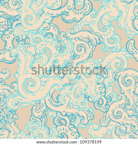 Vintage floral oriental seamless pattern with geometric and nature themes - stock vector