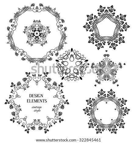 Vintage floral ornaments. Floral and calligraphy round decoration for wedding or vintage holiday card. - stock vector