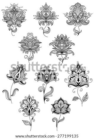Vintage floral paisley elements and blossoms in persian or indian outline style - stock vector