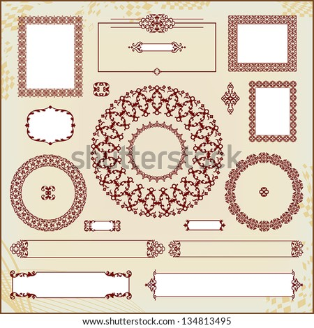vintage floral pattern elements collection - stock vector