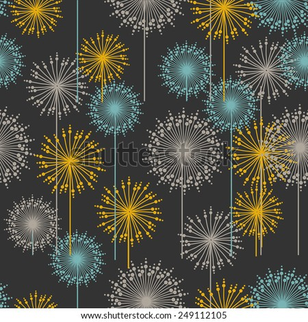 Vintage floral pattern in dark pastel colors. Hand drawn abstract flowers.Vector illustration for design of gift packs, wrap,  patterns fabric, wallpaper, web sites and other.  - stock vector
