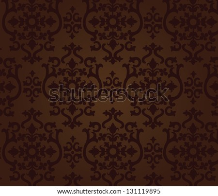 vintage floral pattern of dark brown color for the background - stock vector