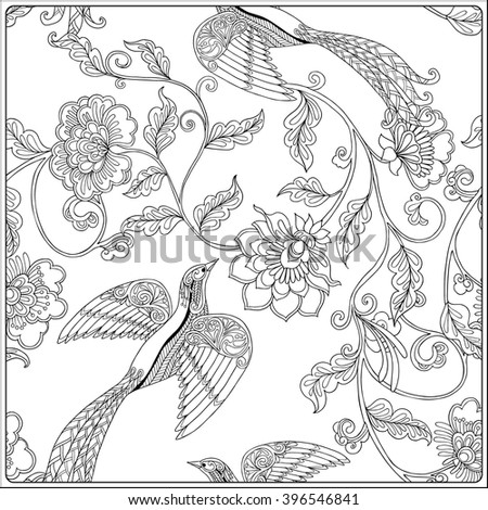 Vintage Floral pattern. Outline drawing. Coloring book for adult and older children in vintage style. Coloring page.  Vector illustration.