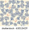 Vintage floral pattern with butterfly - stock vector