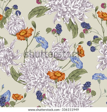 Vintage Floral Seamless Background with Blooming Chrysanthemums. Vector Illustration on a  Beige Background. - stock vector