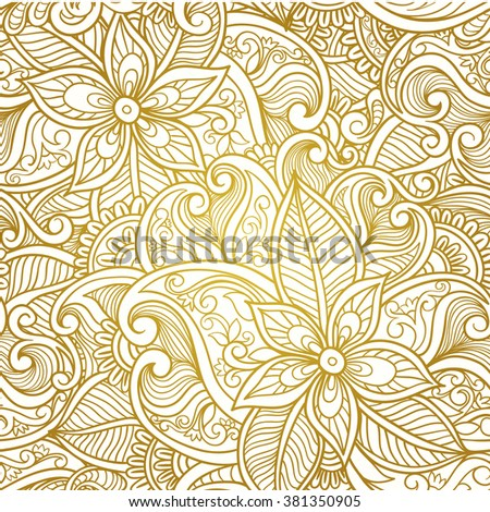 Vintage floral seamless paisley pattern.  Golden  paisley vector. - stock vector