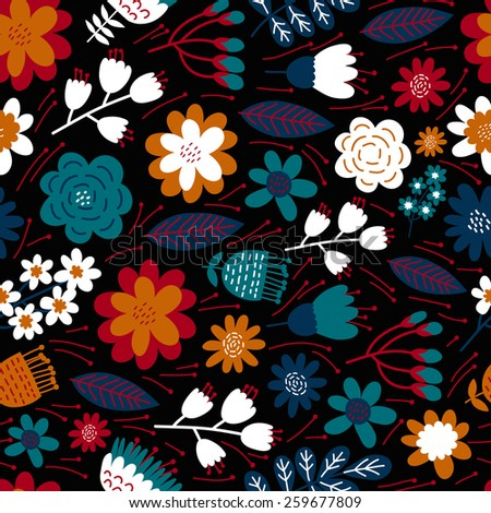 Vintage floral seamless pattern. Vector background.  - stock vector