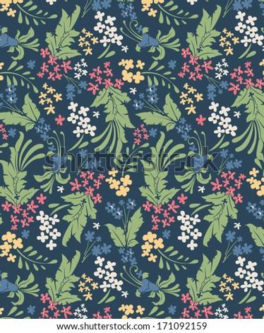 vintage floral seamless pattern, vector design - stock vector