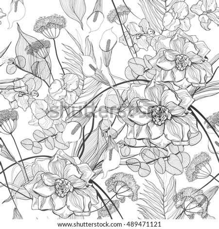 Vintage floral seamless pattern with exotic tropical flowers. Vector illustration.