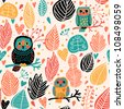 Vintage floral seamless pattern with owls - stock vector
