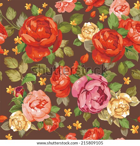 Vintage floral seamless pattern with peonies. Elegance background, vector illustration - stock vector
