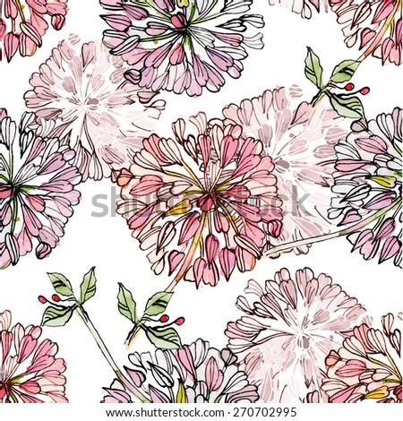 vintage floral seamless texture watercolor painting. vector illustration - stock vector