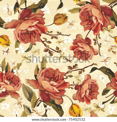 Vintage Floral Seamless vector pattern of the Beautiful Roses. Stylish ornamental illustration texture. - stock vector