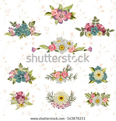 Vintage floral set - stock vector