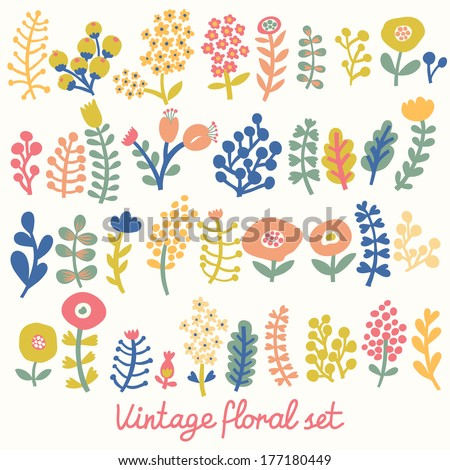 Vintage floral set. A lot of flowers in vector. Cute cartoon flowers in bright vector composition. Ideal for wedding designs - stock vector