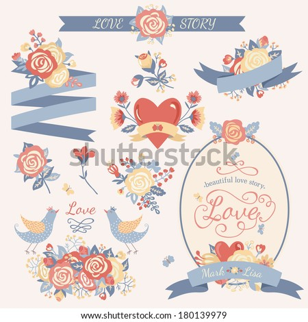 Vintage floral set. Hand drawn wedding collection with vector design elements such as ribbon, birds, flowers, frame, label on a white background. Pastel colors. - stock vector