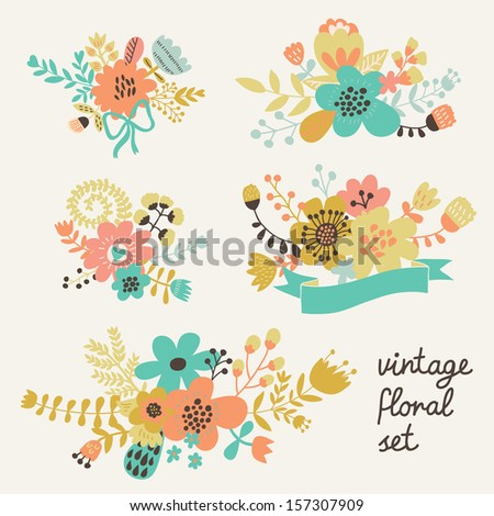 Vintage floral set in vector. 5 stylish design elements in bright colors made of flowers - stock vector