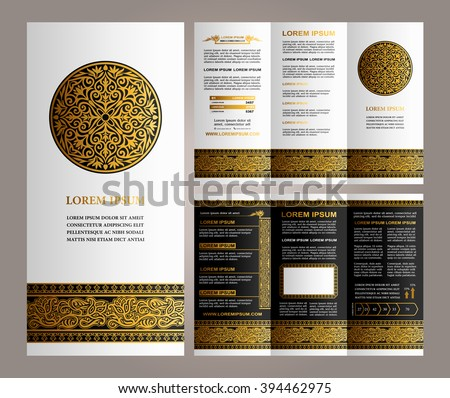 Vintage Floral style Brochure and Flyer Design Template with Logo, creative art elements and ornament, page layouts, Luxury Gold, Black, white colors and artistic solutions for design and decoration