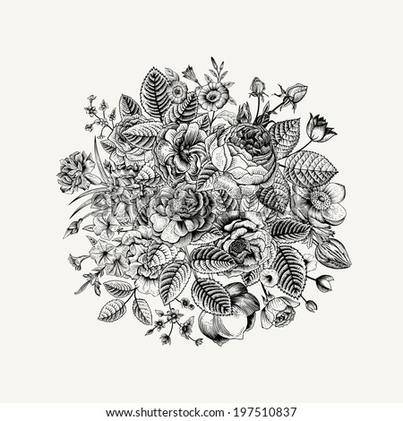 Vintage Floral Vector Bouquet With Black White Summer Garden Flowers