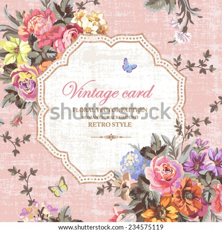 Vintage floral vector card with bright flowers and butterflies on a pink background - stock vector