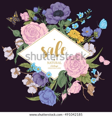 Vintage floral vector discount card. Roses, anemones, butterfly and wildflowers. Botanical natural anemones and roses sale banner. Nature  frame sale