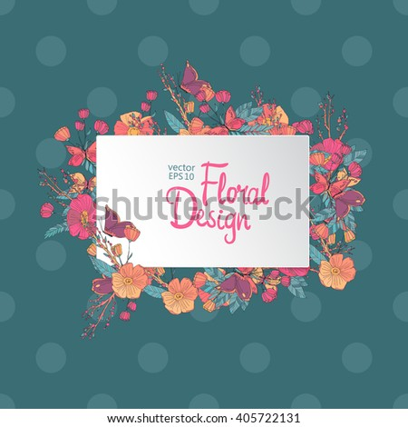 Vintage floral vector frame. Hand-drawn flowers and place for your text. Polka Dot background - stock vector