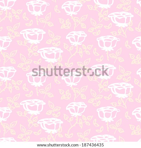 Vintage floral vector pattern with small white hand drawn rose flowers on soft pink background.  - stock vector