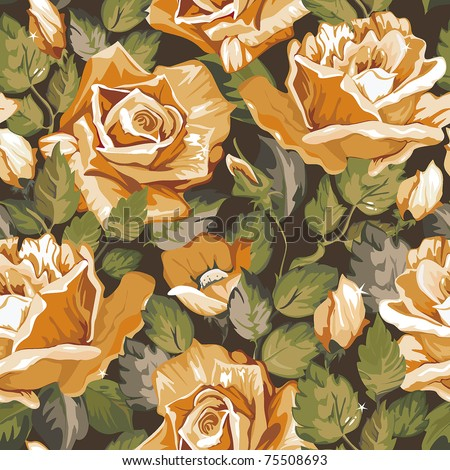 Vintage Floral vector seamless pattern with of yellow roses on dark background, vector illustration - stock vector