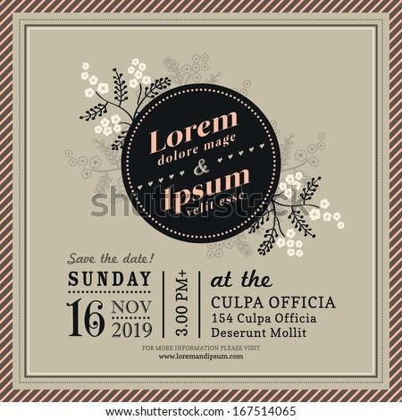 Vintage Floral Wedding invitation border and frame template - stock vector