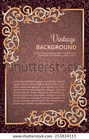 Vintage flourish golden frame on dark wine background - stock vector