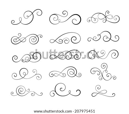 Vintage flourish swirls collection. EPS10 vector decorative elements. - stock vector