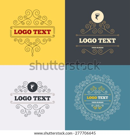 Vintage flourishes calligraphic. Storm sign icon. Gale hurricane symbol. Destruction and disaster from wind. Insurance symbol. Luxury ornament lines. Vector - stock vector