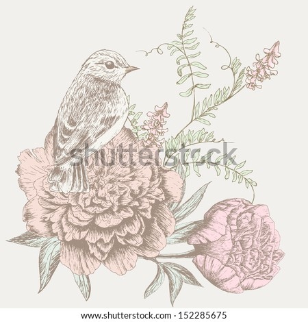 Vintage flower background. Beautiful invitation card with bird, peony and wild vetch - stock vector