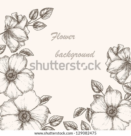 Vintage flower background. Beautiful invitation card with dogrose - stock vector