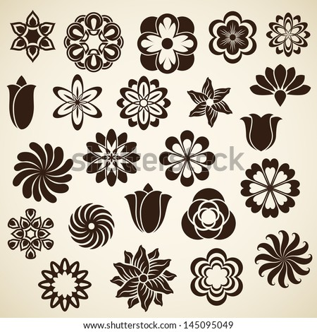Vintage flower buds vector design elements isolated on white background.  Set 2. - stock vector