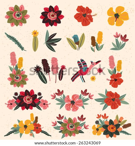 Vintage Flower Elements 2 - stock vector